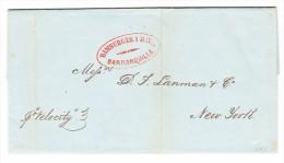 Kolumbien - Vorphila Brief Mit Inhalt 24.2.1855 Von Barranquilla Nach New-York USA - Colombie
