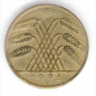 GERMANIA WEIMAR 10 REICHSPFENNIG 1924 ZECCA G - [ 3] 1918-1933 : Repubblica Di Weimar
