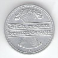 GERMANIA WEIMAR 50 RENTENPFENNIG 1920 ZECCA A - [ 3] 1918-1933 : Repubblica Di Weimar