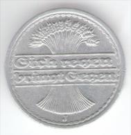 GERMANIA WEIMAR 50 RENTENPFENNIG 1921 ZECCA J - [ 3] 1918-1933 : Repubblica Di Weimar