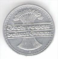 GERMANIA WEIMAR 50 RENTENPFENNIG 1921 ZECCA G - [ 3] 1918-1933 : Repubblica Di Weimar