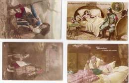 4 CPA -  - Soldat Et Femme Au Lit - Fillette Et Chien - Correspondance Interessante    (69745) - Patriotiques