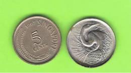 SINGAPUR - SINGAPORE -  5 Cents  KM2 - Ver Años - Look Years - Singapur