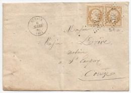 - Lettre - SEINE - SCEAUX - GC.3346 S/Paire TP N°21a + Càd T.15 - 1863 - 1862 Napoleone III