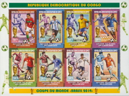 cdr14101a R.D. Congo 2014 Football Sccoer Brasil s/s