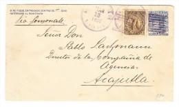 El Salvador Ganzsachen Brief 5 Centavos Blau Mit Zusatz 5 C Braun Auf Brief 12.3.1898 Nach Acajutla - Salvador