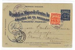 El Salvador Ganzsachen Karte 2 Centavos Blau Mit Zusatz 1 C Orange 1898 Nach München - Salvador