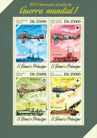 st14208a S.Tome Principe 2014 World War I WW1 Airplane Ship s/s