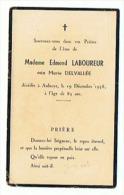 SOUVENIE Madame EDMOND LABOUREUR Décédée à AULNOYE (NORD) 1958 - Images Religieuses