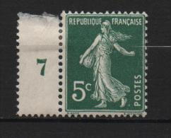 France Timbre Type Semeuse N°137 Y.T. * Trace De Charnière Avec B.millésime 7 - 1906-38 Säerin, Untergrund Glatt