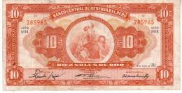 Perù P.77 10 Soles 1956 Vf - Peru
