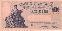BILLETE DE ARGENTINA DE 1 PESO EMISION GOBIERNO NACIONAL SERIE G  (BANKNOTE) - Argentina