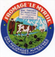 JUIL14  348       étiquette Fromage  LE MYRTIL   8 PORTIONS - Cheese