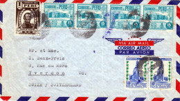 PERU 1950? - Schöne 7 Fach Frankierung Auf LP-Brief La Oroya Peru Nach Yverdon Suiza/Switzerland, Brief Wurde Gefaltet - Peru