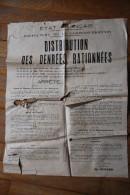 Rationnement - Grande Affiche En L'état Distribution De Denrees Rationnees Loire Inferieure Nantes - 1939-45