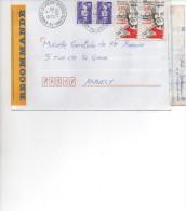 MARIANNE DU BICENTENAIRE 10,00 X 2 + 2 TIMBRES A 2,50 AFFRANCHISSEMENT SUPERBE   RECOMMANDE  27/10/1994 - 1989-96 Marianna Del Bicentenario