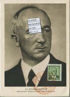 JF0628 Czechoslovakia 1948 President Benes Maximum Card MNH - Postal Stationery