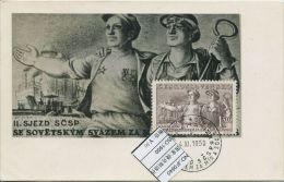 JF0640 Czechoslovakia 1950 Czech-Soviet Friendship Workers Maximum Card MNH - Postal Stationery