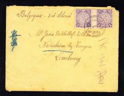 CHINE 1909, SG 154 EN PAIRE INTERPANNEAUX SUR LETTRE DE CHINE VERS LA BELGIQUE VIA SIBERI. (4C18) - Chine