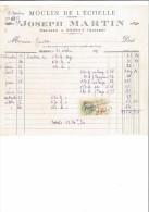 FACTURE 03 ALLIER BESSAY J. MARTIN MOULIN DE L´ECHELLE MEUNIER 1936 - 1900 – 1949
