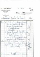 FACTURE 03 ALLIER JALIGNY J. LENIENT DOCTEUR VETERINAIRE 1930 - France