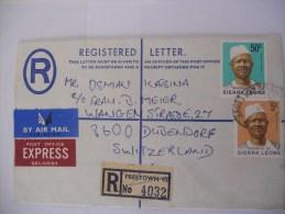 Sierra Leone Lettre Recommandee De Freetown 1976 Pour La Suisse - Sierra Leone (1961-...)