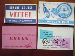 4 Buvards EAUX MINERALES Ou De SOURCE : EVIAN, VITTEL, CONTREXEVILLE, VICHY.  Années 50.Très Bon Etat - Buvards, Protège-cahiers Illustrés