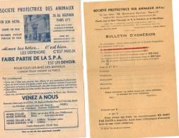 Publicité Et Bulletin Adhésion  SOCIETE PROTECTRICE DES ANIMAUX SPA - Unclassified