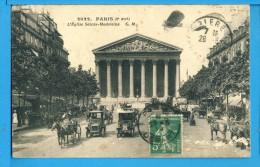 CP, 75, PARIS, Eglise Sainte Madeleine, Belle Animation, Voyagé - Kirchen