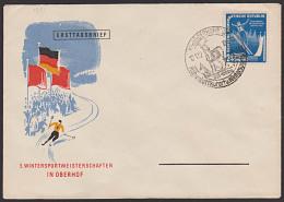 DDR 299 FDC 3. Wintersportmeisterschafte N Oberhof 1952 SSt. Mit Hirsch, Skispringen Sprungschanze - DDR