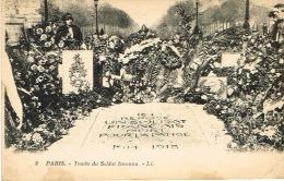France Carte Postale Paris Tombe Soldat Inconnu Ed LL 3  Flamme Numero Taxe Versailles Angleterre 1924 Pliure Gauche - France
