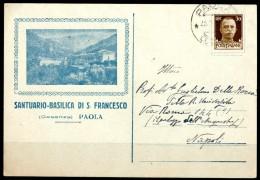 PAOLA (CS) - Santuario-Basilica Di S .Francesco - Cartolina Postale Viaggiata Anno 1937 - Vendita Come Da Scansione - Cosenza