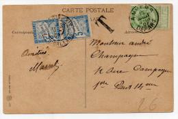1907 - CP De ANVERS Pour PARIS Avec TAXE FRANCAISE De 10cts - 1893-1907 Coat Of Arms