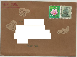 POSTAL USED COVER TO PAKISTAN RECIVER ADDRESS REMOVE BY COMPUTER  FLOWERS - Korea (...-1945)