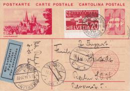 Entier Postal Avec Affranchissement Complémentaire Aviation - 30.v.1934 - Illustration Lausanne - Altri Documenti