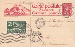 Entier Postal Avec Affranchissement Complémentaire Aviation -9.IX.1925 - Linéaire Zürich-Mailand - Luftpost