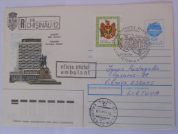 Moldavie Lettre Recommandee De Chisnau 1991 Pour Vilnius - Moldavie