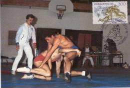 Lote PEP571, Francia, 1987, Tarjeta Maxima, Maximun Card, Lucha, Wrestling, Sport Postcard, Not Perfect Card - Cartas Máxima