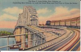 CPSM PONT THE HUEY P LONG BRIDGE NEW ORLEANS TRAIN CROSSING THE BRIDGE - Puentes