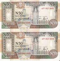 PAREJA CORRELATIVA DE SOMALIA DE 50 SHILING DEL AÑO 1991  (BANKNOTE) SIN CIRCULAR-UNCIRCULATED - Somalia
