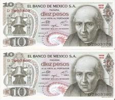 PAREJA CORRELATIVA DE MEXICO DE 10 PESOS DEL AÑO 1975 (BANKNOTE)  SIN CIRCULAR-UNCIRCULATED - México