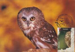 EAGLE OWL, INTERNATIONAL DAY OF BIRDS,  CM MAXICARD, 2014, ROMANIA - Eulenvögel