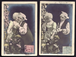 LOT 2 CPA  ANCIENNES- FRANCE- FANTAISIE-  COUPLES EFFEUILLANT LA MARGUERITE EN 1900- COSTUMES ANCIENS - Couples