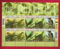 SOUTH AFRICA, 2011, Mint Never Hinged Full Sheet, Forest Birds Of Africa, Sa2186-2190 #nr. 3848 - Unused Stamps