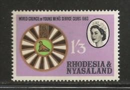RHODESIA-NYASSALAND, 1963, Mint  Hinged Stamp(s), Young Mens' Service Club, Mich  51, #nr. 493 - Rhodesia & Nyasaland (1954-1963)