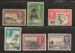 NYASSALAND, 1945, Cancelled Stamp(s), Definitives, Mich 70=83, #nr. 512   (6 Values Only) - Nyassaland (1907-1953)