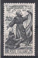 ITALIA 1957 SAN FRANCESCO DI PAOLA SASS. 825 MLH VF - 6. 1946-.. República