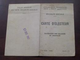 CARTE D'ELECTEUR Sécurité Sociale Modèle N°2 1962 ( Marles-Kuhlmann ) - (  Pour Detail Voir Photo ) ! - France