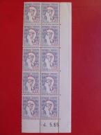 VARIETE COULEUR ESTOMPÉE TIMBRE 1282 MARIANNE DE COCTEAU BLOC DATÉ - Curiosités: 1960-69 Neufs