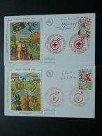 2 FDC Croix Rouge Red Cross 1975 Signées Par Les Artistes Lambert Monvoisin Et Guillaume Le Creusot - Croce Rossa